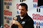 Stewart faces the NASCAR media