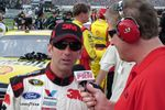 Rousch Fenway Driver, Greg Biffel talking with PRN's Jim Noble