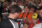 Dale Jr. signing autographs