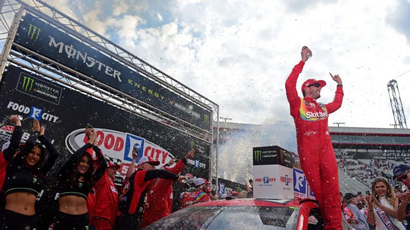 Kyle Busch wins at Bristol Motor Speedway.